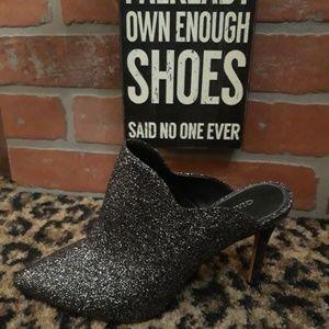 Gianni Bini Silver Glitter High Heel Mules NEW HOT